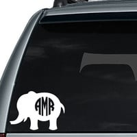 Elephant Monogram Decal / Elephant Monogram Car Decal / Car Decal / Laptop Decal / Laptop Sticker