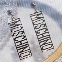 MOSCHINO fashion letter earrings with female personality hipster titanium steel long round earrings