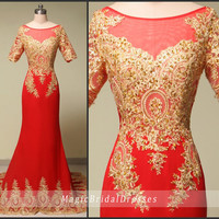 Gorgeous Beading Formal Dresses Luxury Golden Beads Lace Appliques Long Evening Dresses with Train Charming Red Spandex  Royal Women Dresses