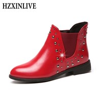 HZXINLIVE 2018 Winter Women Boots Rivet Shoes Fashion Comfortable Plush Ladies Genuine Leather Shoes Red Ankle Boots Botas Mujer