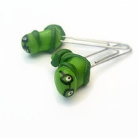 Bookworm Bookmark Polymer Clay ~ Decorative Paper Clips ~ Green Bookmark ~Office Supplies ~ Book Mark Bookmarks ~ Cute
