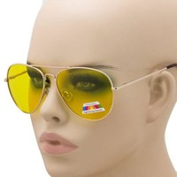 Classic Aviator Night Vision HD Glasses with Polarized Yellow Lens Metal Frame