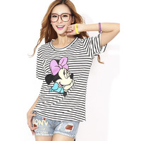 Summer Casual Striped Mouse Cartoon Mickey Printed T-Shirt O-Neck Striped Fashion Women T-Shirt Women Tops Plus Size HFF635