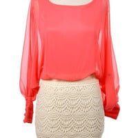 SHEER OPEN SLEEVE DRESS WITH CROCHET LACED SKIRT - Coral