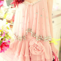 Flower Beaded Chiffon Ruffled Dress