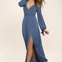 Just the Thing Slate Blue Long Sleeve Maxi Dress