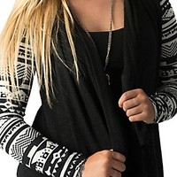 Flying Tomato Women's Black & White Aztec Long Sleeve Cardigan