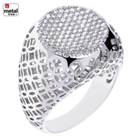 Jewelry Kay style Men's Luxury Iced Out Hip Hop Silver Plated Caved Flat Round Style Pinky Rings