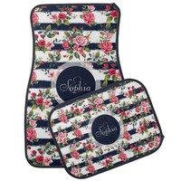 Girly vintage roses floral watercolour stripes car mat