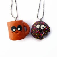 Best Friends Necklace, Happy Coffee Cup and Shocked Donut Necklace Set, Doughnut pendant, BFF necklace set, Frienship gift, Keychain
