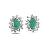 14kt Yellow Gold Diamond and Emerald Earrings 0.75ct TW