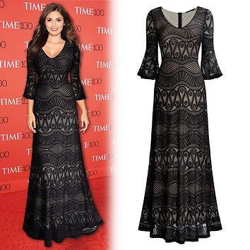 Vintage Inspired Black Lace Full Length Dress, Sizes Small to 2XLarge