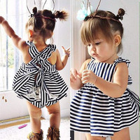 2017 Fashion baby toddler girls dress newborn girls bowknot dress Infant clothing casual dress for summer vestido