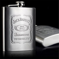 Flask 1 Hip piece Portable Stainless Steel Wine Bottle Gift Box Pocket Flask Russian Flagon (Color: Light grey) [9303741130]