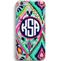 Crown Jewel Monogram Inspired Lilly Pulitzer iPhone 6 Case, iPhone 5S Case