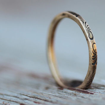 ONE Textured and Oxidized Gold Square Stacker RING - Choose from THREE Patterns