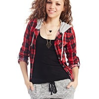 Hooded Plaid Knit Shirt | Wet Seal