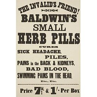 "baldwin's small herb pills VINTAGE AD POSTER the ""invalid's"" friend 24X36"