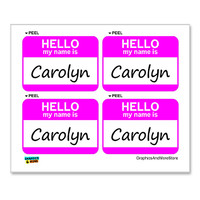 Carolyn Hello My Name Is - Sheet of 4 Stickers