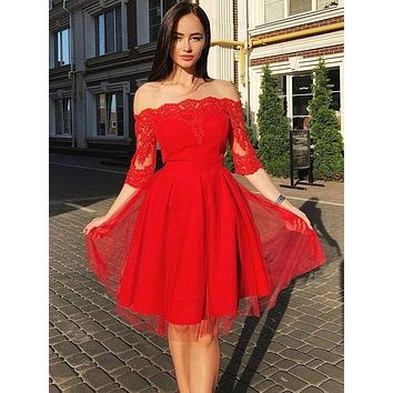 Red Homecoming Dress with Sleeves, Short Prom Dress ,Back To School Party Dress, Evening Dress, Formal Dress, DTH0046