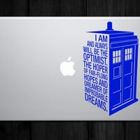 Laptop sized Dr Who's Tardis Sticker Quote  Police by LimeWallArt