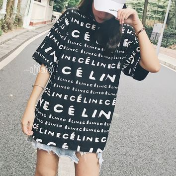 """Céline"" Women Casual Fashion Personality Letter Print Short Sleeve T-shirt Top Tee"