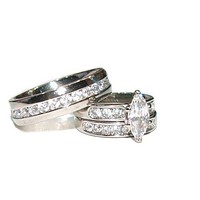 His Hers 3 Piece Marquise Cut Cz  Wedding Engagement Ring Set Stainless Steel