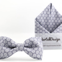 Set Bow Tie & Pocket Handkerchief by BartekDesign: light grey flowers print pocket square wedding grooms