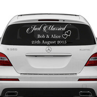 Just Married Custom Personalized Vinyl Decal / Write Your Names & Date Sticker / Decals for Car Back Window Mirror + Free Random Decal Gift!