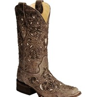 Corral Studded Bone Inlay Crater Cowgirl Boots - Square Toe - Sheplers
