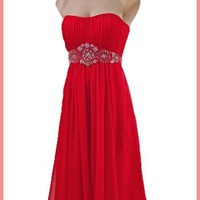 Strapless Beaded Red Chiffon Party Dress - Red Retro Coctail Dress