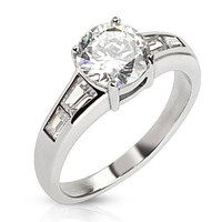 Exquisite - FINAL SALE Classic Round Cut Cubic Zirconia Stone Engagement Ring with Tapered Baguettes