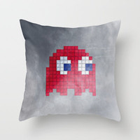 Pac-Man Red Ghost Throw Pillow by Psocy Shop