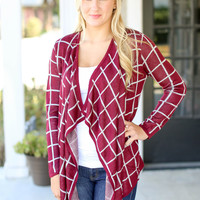 Checking All the Boxes Cardigan - Burgundy