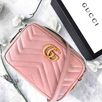 Wearwinds GUCCI Classic Wave pattern Shopping Leather Shoulder Bag Crossbody Satchel Small Square Bag Pink