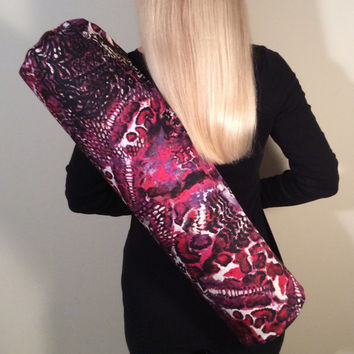 Handmade Yoga Mat Bag, Yoga Tote, Yoga Mat Carrier, Yoga Bag, Multi Color with Black Shoulder Strap