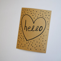 Hello polka dot heart kraft paper card 5x7 A7 greeting card / Valentines day / anniversary / relationships / love