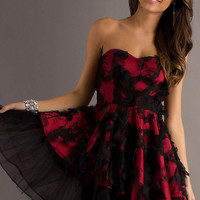Short Strapless Red and Black A-Line Dress