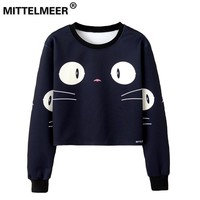 Woman girls crop top Cartoon cute cat