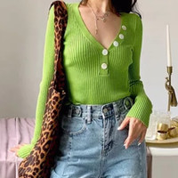 Button V-neck sweater women's autumn and winter slim wild sweater women's long-sleeved shirt