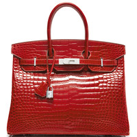 Diamond Encrusted Hermes 35cm Braise Shiny Porosus Birkin