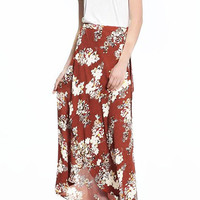 Cupshe Floral We Know Chiffon Wrap Skirt