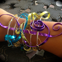 Cuff Bracelet, MUSIC, turquoise,purple,Chartreuse,Ribbon Swirls,Unique,One of a Kind,Statement piece