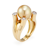 Belpearl Women's Golden South Sea Pearl & Diamond Prong Ring - White