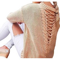 KNITTED SWEATER WITH LACE-UP BACK