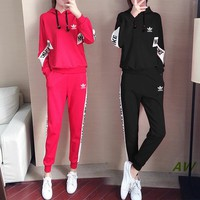 """Adidas"" Women's Leisure  Fashion Letter Printing Spell Color Hooded Long Sleeve Trousers Two-Piece Casual Wear"