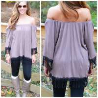 SZ LARGE Sass Off The Shoulder Mocha Top