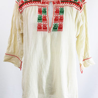 authentic rare bohemian handmade embroidered peasant blouse