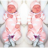 2016 new fashion baby girl clothes Cartoon pink cute newborn toddler jumpsuit+Hat 2pcs baby girl clothing infant clothing set