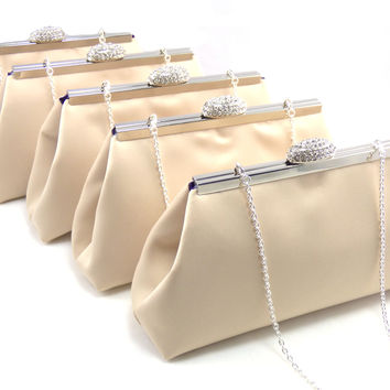 Set of Five Champagne and Blackberry Purple Bridesmaid Gift Clutches 5% Off